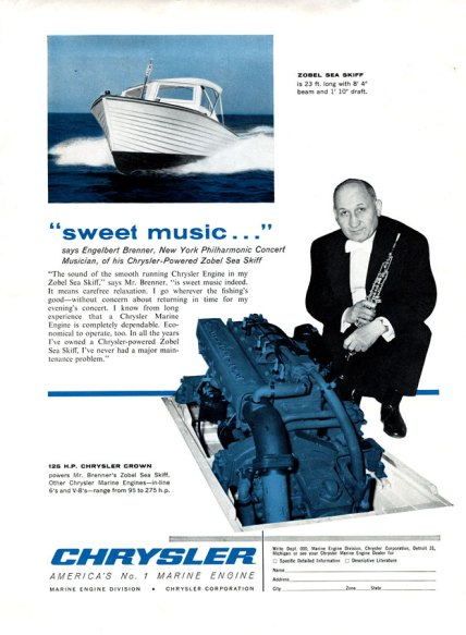 Engelbert Brenner featured in a Chrysler marine ad