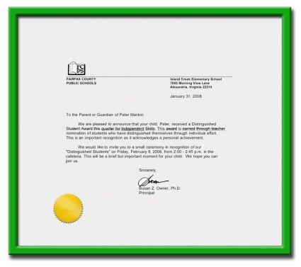 Peter's Award Letter