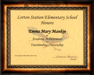 Emma receives an award in 4th grade today!